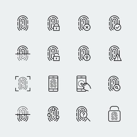 指紋アイコン セット、薄いライン デザイン