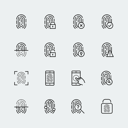 Fingerprint icon set, thin line design Çizim