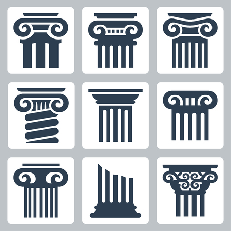 roman pillar: Ancient columns vector icon set Illustration