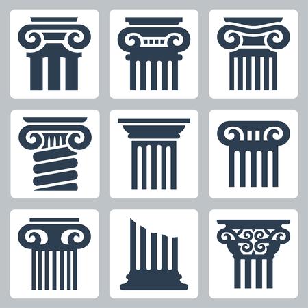 Starożytne kolumny zestaw ikon wektorowych