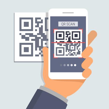 Hand bedrijf telefoon met app voor het scannen van QR code, platte ontwerp illustratie Stock Illustratie