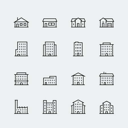 chalet: Buildings vector icon set in thin line style Illustration