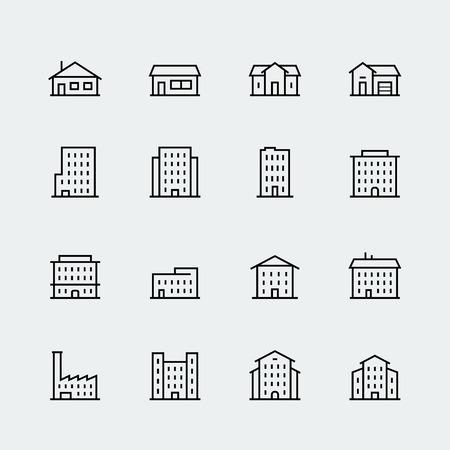 icono conjunto de vectores edificios de estilo de línea delgada Vectores