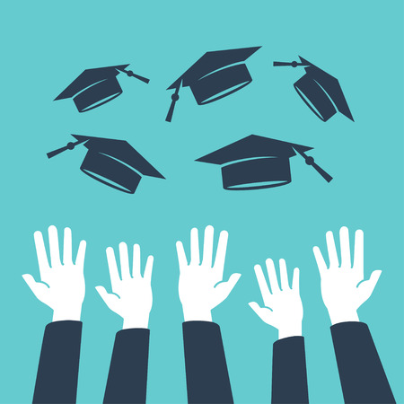 cap and gown: Concept of education, hands of graduates throwing graduation hats in the air