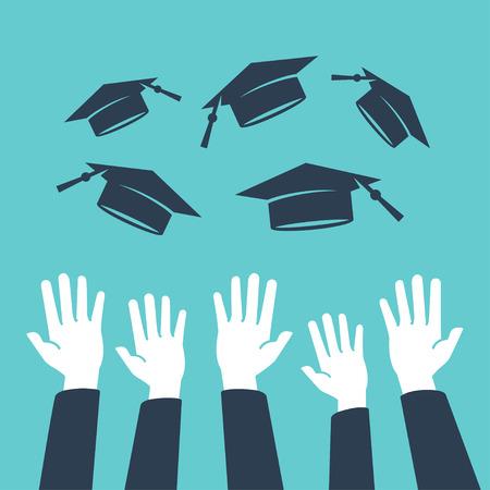 Concepto de la educación, las manos de los graduados que lanzan los sombreros de graduación en el aire Ilustración de vector