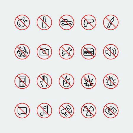 radioactive warning symbol: Prohibition signs and icons in thin line style Illustration