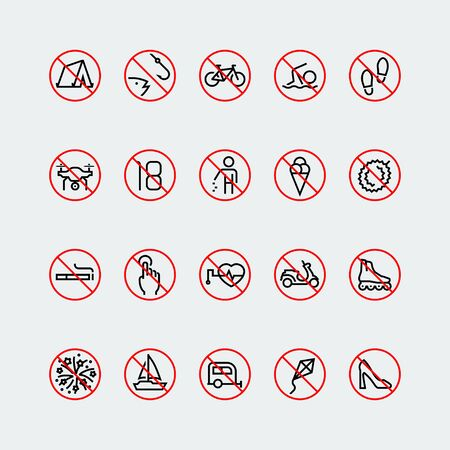 no heels: Prohibition signs linear vector icon set