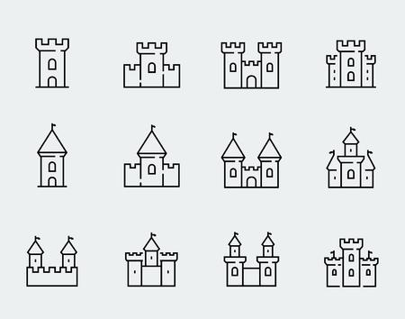 Vector castelli medievali set di icone in stile linea sottile