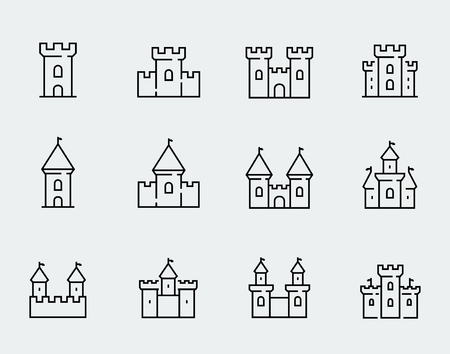 Vector de castillos medievales conjunto de iconos de estilo de línea delgada