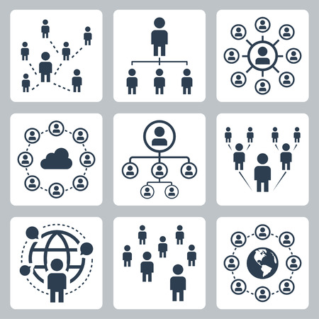 large crowd of people: Social network, people and globalization icon set