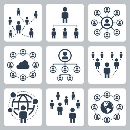 Soziales Netzwerk, die Menschen und die Globalisierung Icon-Set
