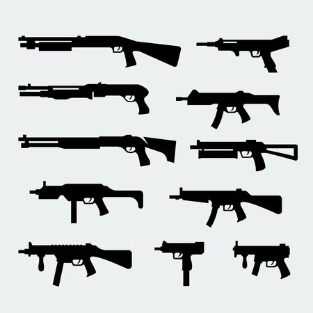 weapon: Vector set of silhouettes of modern shotguns and submachine-guns