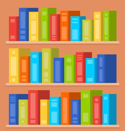 bookshop: Books on shelves. Vector flat illustration Illustration