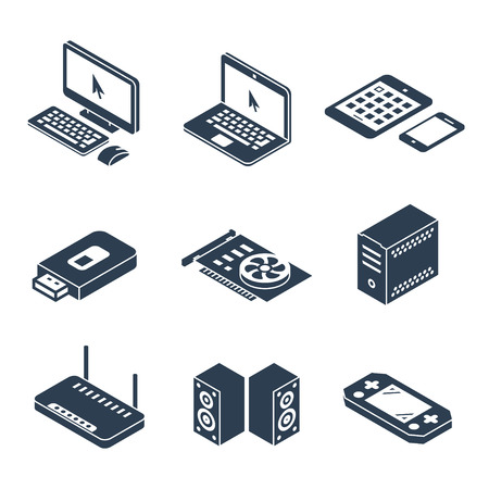 computerized: Computer, gadgets and hardware isometric vector icons Illustration
