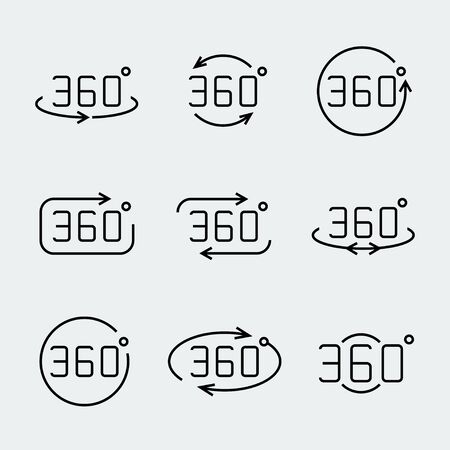 degrees: 360 degrees rotation vector icon set Illustration
