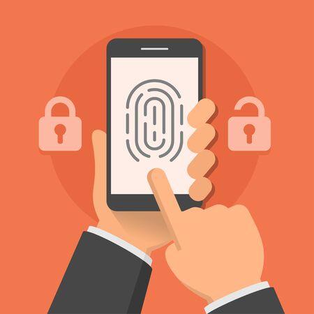 fingermark: Hand holding smartphone with fingerprint on the screen, flat style vector illustration