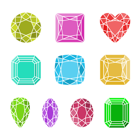faceting: Vector colorful diamond cuts icons set