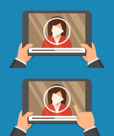 computer screen: Video player app on tablet screen and woman on it. Webinar, online conference, e-learning concept. Flat design vector illustration