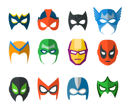 Set of vector super hero masks in flat style Vettoriali