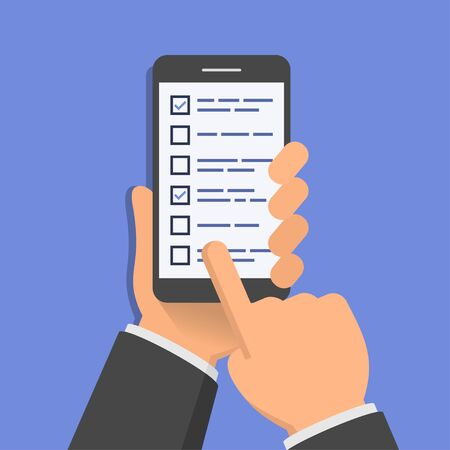 finger touch: Checklist on smartphone screen. One hand holds smartphone and finger touch screen. Flat design vector illustration