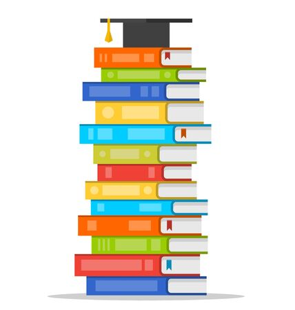 oxford: Sheaf of colorful books with square academic cap on top of it. Vector flat design style illustration