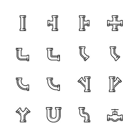 fittings: Pipes and pipeline fittings vector icon set in thin line style