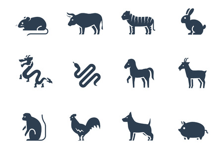 year of the ox: Chinese zodiac vector icon set Illustration