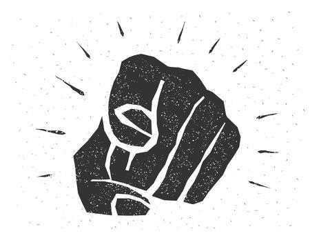 Retro mano umana con il dito puntato verso il telespettatore