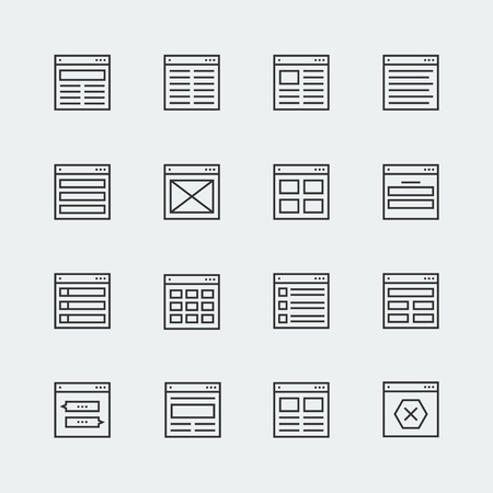layout design template: Website or application wireframe template and design layout icons in thin line style