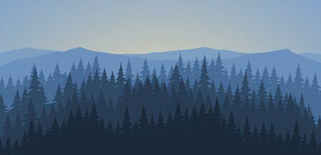 Bosque de pinos en la madrugada fondo del paisaje Ilustración de vector