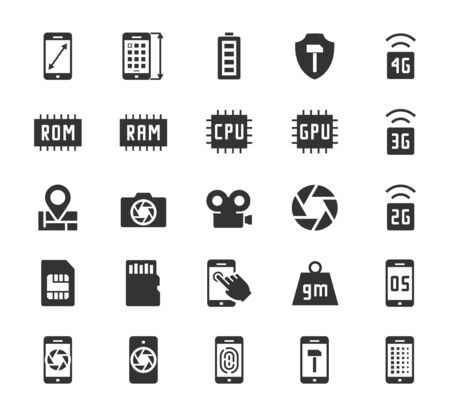 rom: Smartphone parameters icon set: screen dimensions, resolution, ROM and RAM capacity, battery, GPS, camera and video, protection, number of sim cards and other Illustration