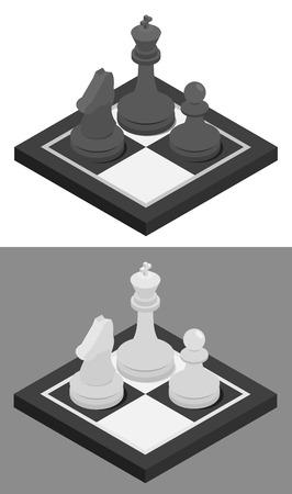tablero de ajedrez: Ajedrez concepto isométrica icono. Tablero de ajedrez y de ajedrez caballero, peón y el rey en él. Ilustración del vector en variaciones en blanco y negro