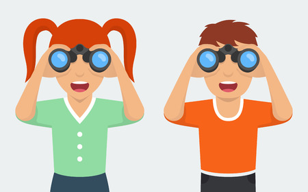 interested: Happy and curious girl and boy looking through binoculars. Flat style vector illustration