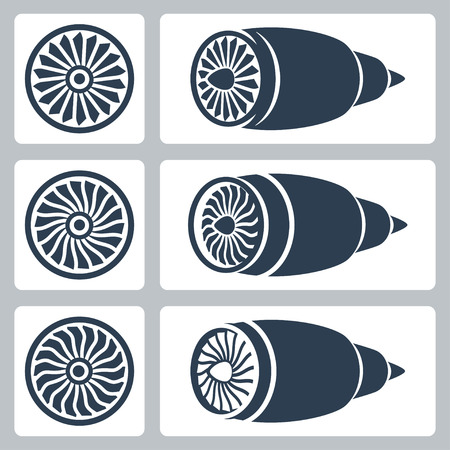 Aircraft turbines vector icon set