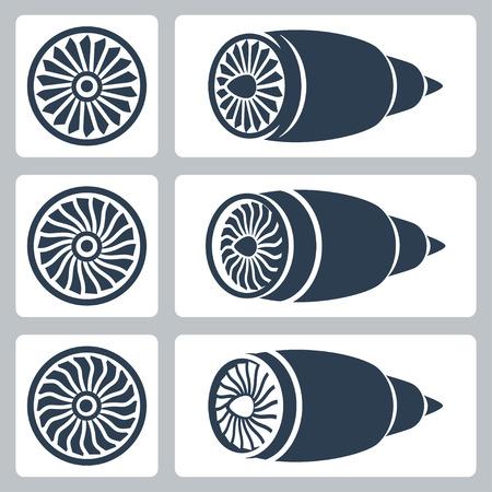 Samoloty turbiny zestaw ikon wektorowych