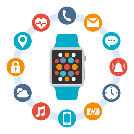 weather icons: Smart watch in flat style and white icons in circles around it Illustration