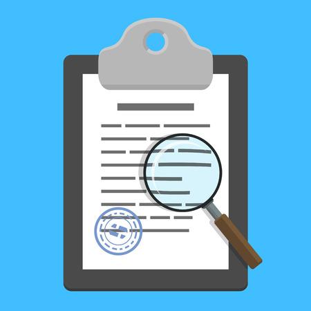 Lupa sobre el portapapeles con el documento (contrato) en el fondo azul. Ilustración del vector en estilo plano Ilustración de vector