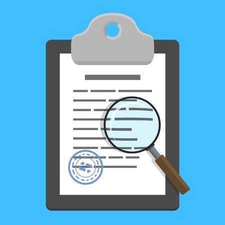 check icon: Magnifying glass over clipboard with document (contract) on blue background. Vector illustration in flat style