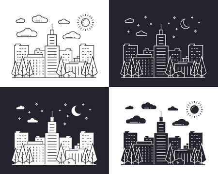 city at night: Linear cityscape at day and night Illustration