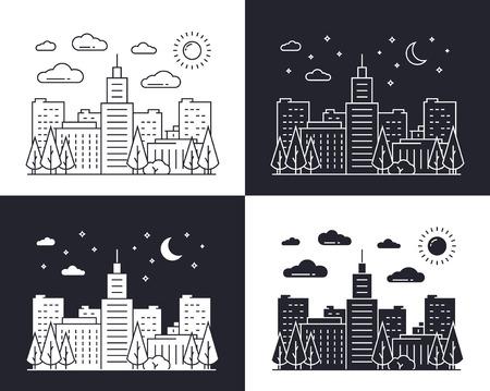 dia y la noche: paisaje urbano lineal en el día y la noche