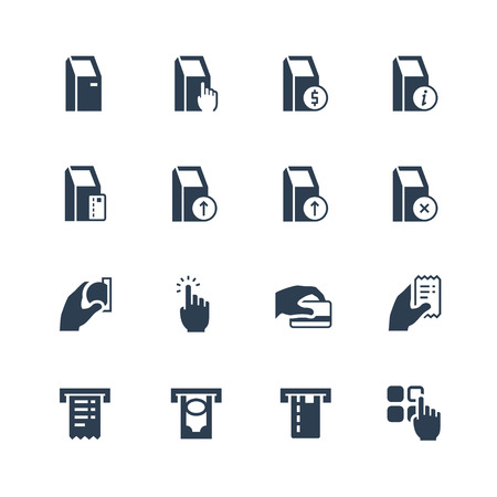 Self-service terminals vector icon set