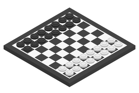 draughts: Chessboard and checkers on it. Isometric vector illustration