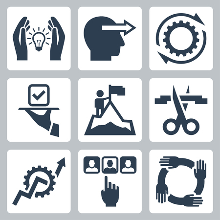 setup man: Business management and service vector icon set Illustration