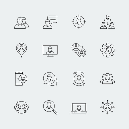 Person, people, personnel, staff related vector icon set in thin line style