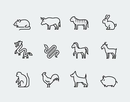 Chinese dierenriem vector icons in dunne lijn stijl Stock Illustratie