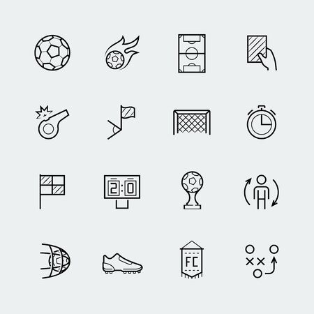 offside: Soccer, football vector icon set in thin line style