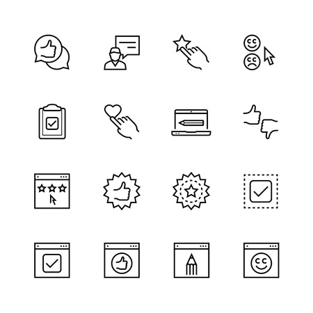 testimonios de clientes conjunto de iconos de estilo de línea delgada