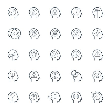 psy: Human brain processes, people thinking, emotions, mental health, creative business and development ideas icon set Illustration
