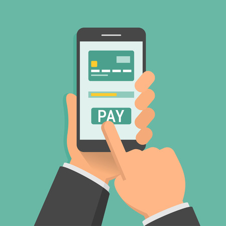 Hand holding phone with app for mobile paying, flat design illustration Vectores