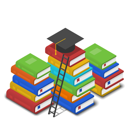 successful student: Isometric vector illustration of heap of books, ladder near it and square academic cap on top of it. Knowledge and reading concept